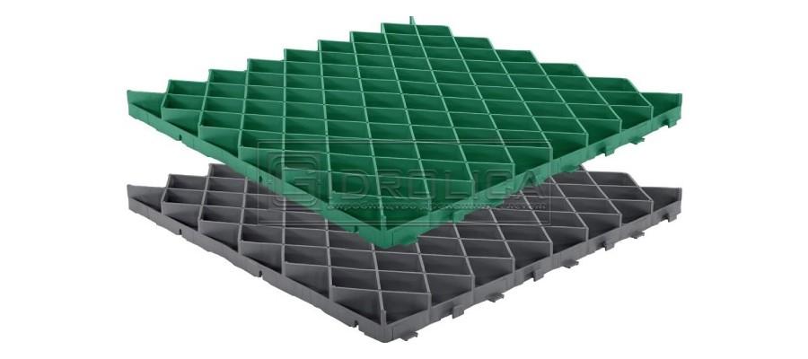Решетка газонная, пластиковая. Размер 600 на 600, цвета зеленый и черный