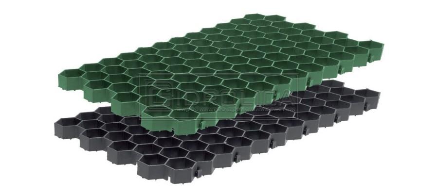 Решетки для газона, пластиковые. Рисунок решетки - соты, размер 700 на 400